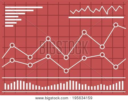 Chart with forex or stock data graphic in thin line style. Set of various indicators for stock forex trade. Online trading concept. Vector illustration.