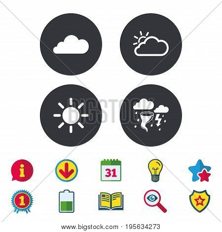Weather icons. Cloud and sun signs. Storm or thunderstorm with lightning symbol. Gale hurricane. Calendar, Information and Download signs. Stars, Award and Book icons. Light bulb, Shield and Search