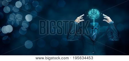 Brain with printed circuit board (PCB) design and businessman representing artificial intelligence (AI), data mining, machine and deep learning, neural networks and another modern computer technologies concepts.