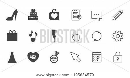 Wedding, engagement icons. Cake with heart, gift box and brilliant signs. Dress, shoes and musical notes symbols. Chat, Report and Calendar line signs. Service, Pencil and Locker icons. Vector