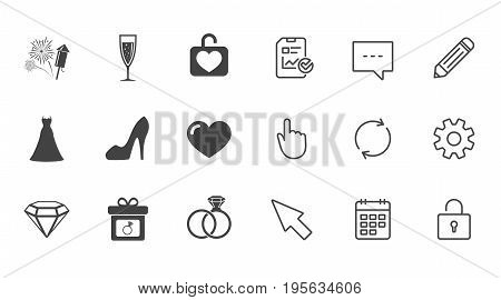 Wedding, engagement icons. Locker with heart, gift box and fireworks signs. Dress, heart and champagne glass symbols. Chat, Report and Calendar line signs. Service, Pencil and Locker icons. Vector