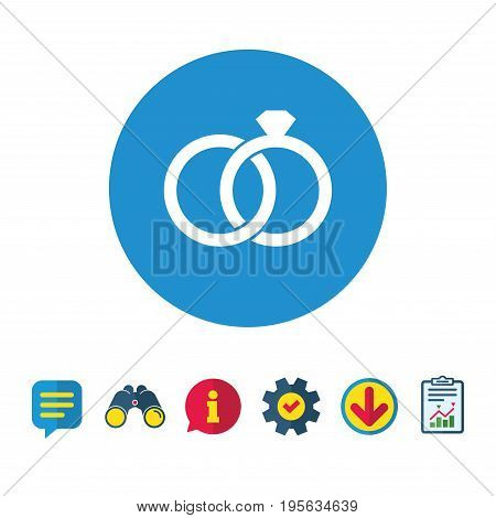 Wedding rings sign icon. Engagement symbol. Information, Report and Speech bubble signs. Binoculars, Service and Download icons. Vector