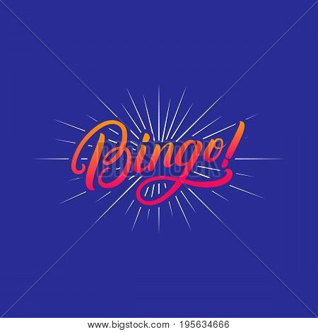 Bingo! hand written lettering quote for greeting card, poster, print. Modern brush calligraphy. Isolated on blue background. Vector illustration.