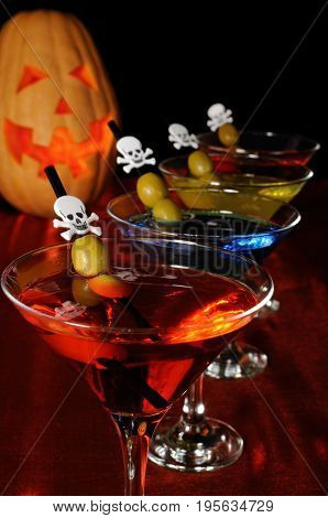 A variety of cocktails with olive on Halloween