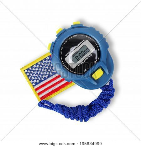 Sports equipment - Blue Digital electronic Stopwatch and usa flag on a white background