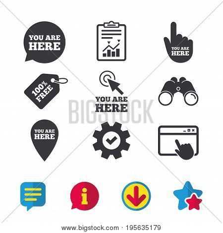 You are here icons. Info speech bubble symbol. Map pointer with your location sign. Hand cursor. Browser window, Report and Service signs. Binoculars, Information and Download icons. Stars and Chat