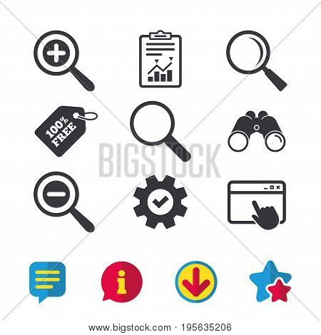 Magnifier glass icons. Plus and minus zoom tool symbols. Search information signs. Browser window, Report and Service signs. Binoculars, Information and Download icons. Stars and Chat. Vector