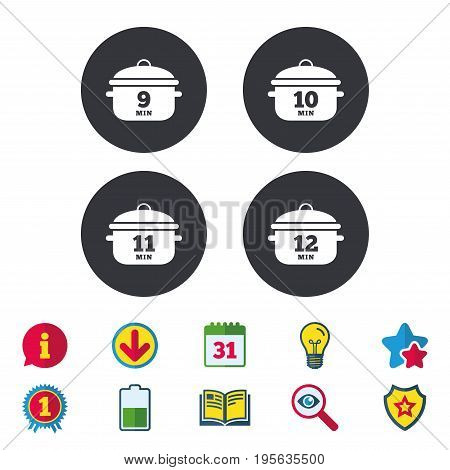 Cooking pan icons. Boil 9, 10, 11 and 12 minutes signs. Stew food symbol. Calendar, Information and Download signs. Stars, Award and Book icons. Light bulb, Shield and Search. Vector