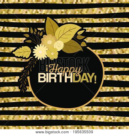 sepia color lines background with circular frame with decorative flowers and text happy birthday inside vector illustration