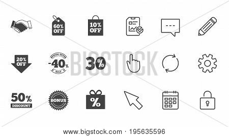 Sale discounts icon. Shopping, handshake and bonus signs. 20, 30, 40 and 50 percent off. Special offer symbols. Chat, Report and Calendar line signs. Service, Pencil and Locker icons. Vector