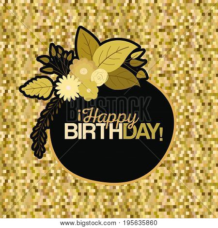 sepia color pixel background with circular frame with decorative flowers and text happy birthday inside vector illustration