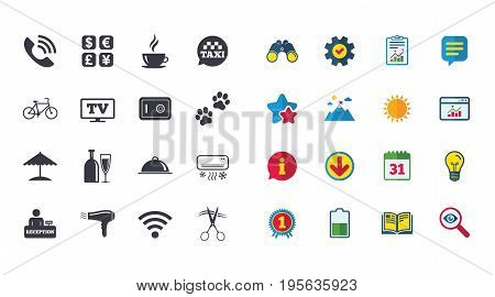 Set of Hotel services icons. Phone call, Wifi internet and Currency exchange signs. Coffee, Wine bottle and Air conditioning symbols. Calendar, Report and Browser window signs. Vector