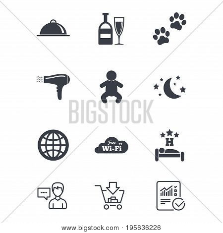 Hotel, apartment service icons. Restaurant sign. Alcohol drinks, wi-fi internet and sleep symbols. Customer service, Shopping cart and Report line signs. Online shopping and Statistics. Vector