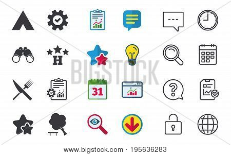Food, hotel, camping tent and tree icons. Knife and fork. Break down tree. Road signs. Chat, Report and Calendar signs. Stars, Statistics and Download icons. Question, Clock and Globe. Vector