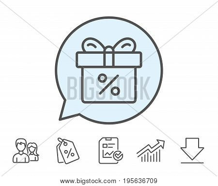 Gift box with Percentage line icon. Present or Sale sign. Birthday Shopping symbol. Package in Gift Wrap. Report, Sale Coupons and Chart line signs. Download, Group icons. Editable stroke. Vector