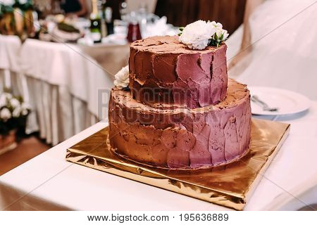 The two-level chocolate wedding cake is decorated with white flowers and stands on the golden stand, on the white table. Dessert, pastry. Close-up