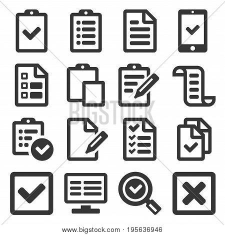 Checklist Survey Icon Set on White background. Vector illustration