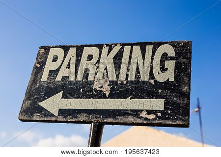 Parking sign, traffic sign board in the street