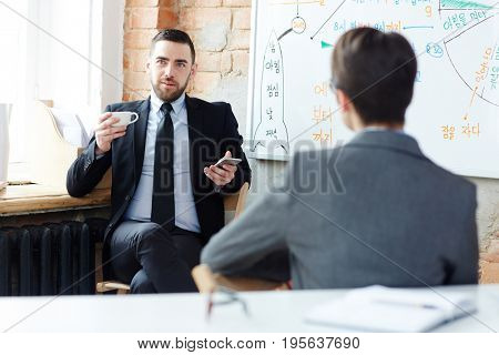 Businessman contemplating about new project in office at break