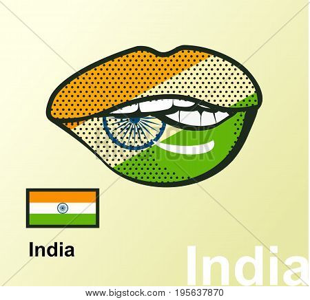 Vector illustration of the national symbol of india lips painted in colors of the flag of the state