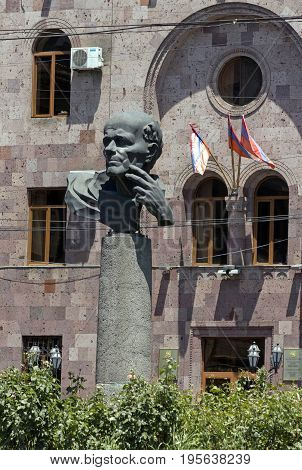 YEREVAN,ARMENIA - JULY 09,2017:Monument to Academician Sakharov on the square in Yerevan,Armenia - world-famous fighter for human rights