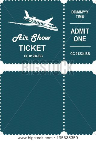 Vector illustration ticket countermark for aviation show simple black and white