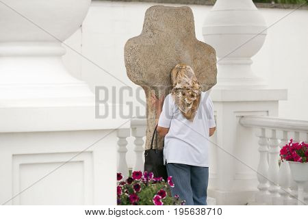 Tours, Belarus - July 15, 2017: Two-meter Stone Cross In The Cathedral Of St. Cyril And Laurence Of