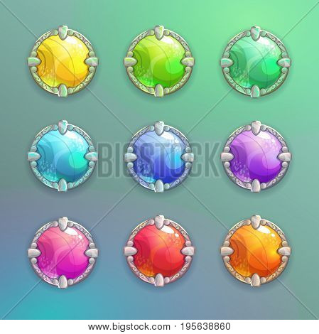Beautiful colorful cartoon crystal round buttons set. Vector assets for web or game design.