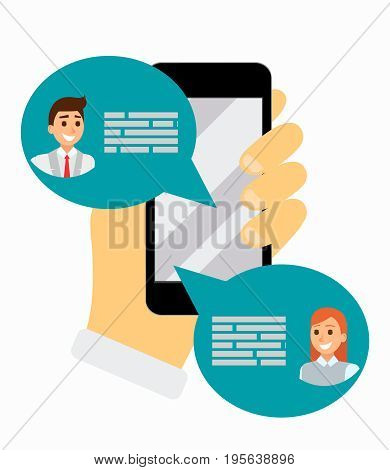 Chatting on phone via application, online conversation in internet. Messaging using mobile phone, flat vector illustration. Social network. Hand holds cell phone. bubble messages in app