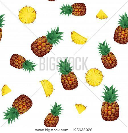 Tropical ananas pineapple fruit with pieces and slices seamless pattern on white background. Vector illustration for textile print, wallpaper, fashion design