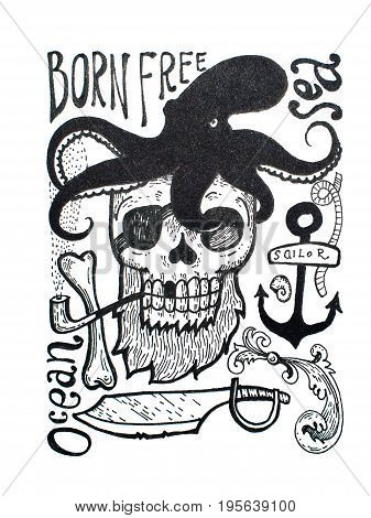Black-and-white drawing of pirates attributes composition: skull, beard, eye patch, octopus, anchor, pipe axe and inscriptions