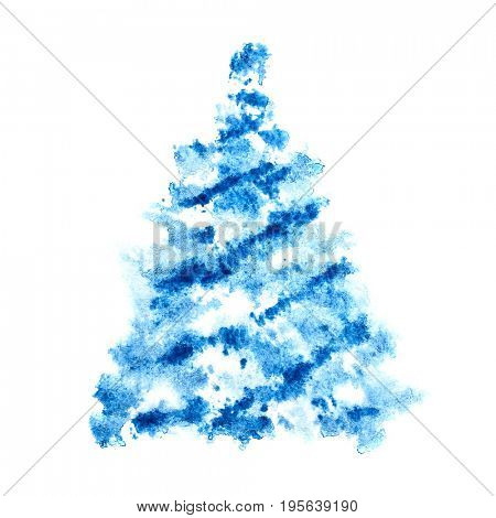 Blue scetched Christmas tree isolated on the white background - raster illustration