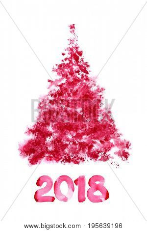Happy New Year 2018! - Red scetched Christmas tree isolated on the white background - raster illustration