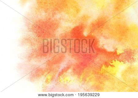 Orange watercolor stains with isolated edge - abstract water color background