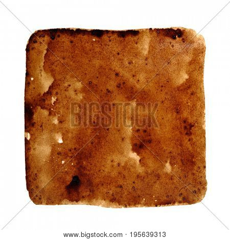 Square stain of spilt coffee isolated on the white background