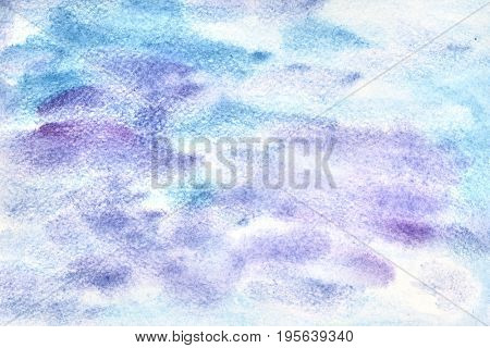 Blue violet watercolor abstract background with strokes