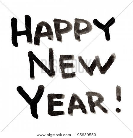 Happy New Year! - Lettering isolated on white background - raster illustration