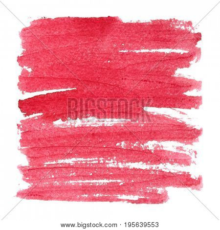 Red textured square with brush strokes. Abstract background, space for text. Raster illustration