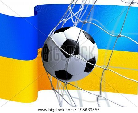 soccer ball in goal net on Ukrainian flag background
