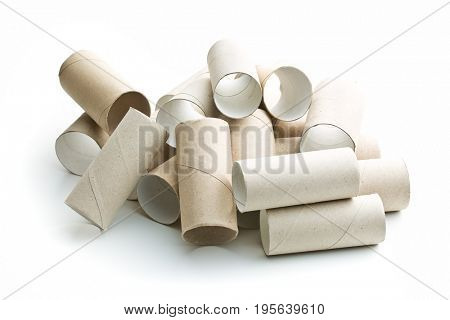 Empty toilet rolls isolated on white background.