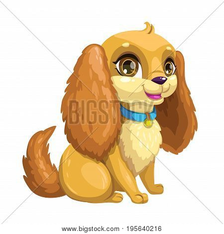 Little cute cartoon sitting puppy with long ears. Vector dog icon, isolated on white background.