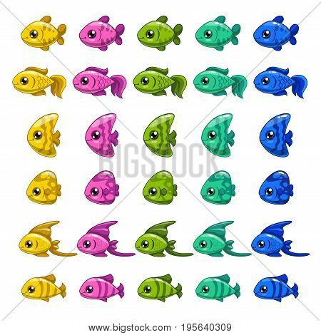 Funny cartoon colorful fishes set. Vector icons for game design.