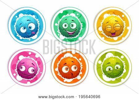 Funny bright round stickers with cartoon fluffy monsters. Vector icons set, isolated on white background.