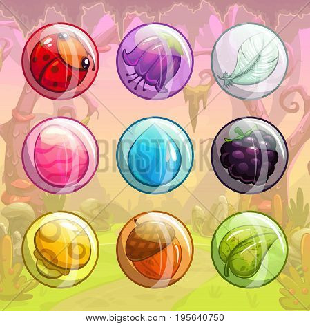Cute cartoon colorful forest items in the transparent glossy bubbles. Funny assets for game design.