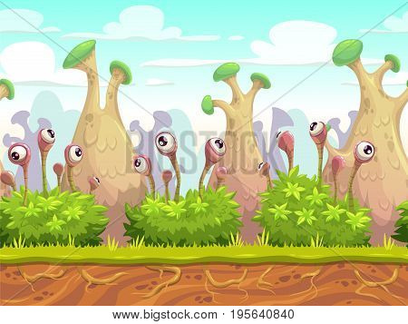 Seamless fantasy landscape with separated layers for parallax effect. Vector looped cartoon background for game design.