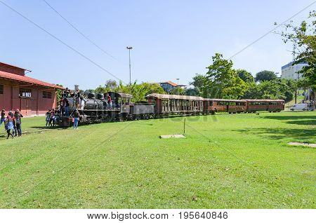 Children Visiting The Open Air Museum Estrada De Ferro Madeira-mamore