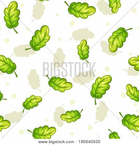 Seamless pattern with falling green oak leaves on white background. Vector autumn herbal texture.