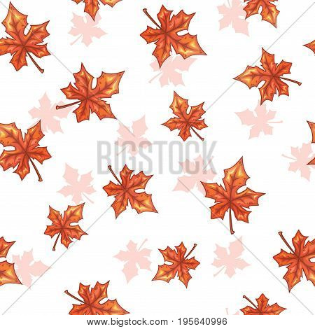 Seamless pattern with falling maple red leaves on white background. Vector autumn herbal texture.