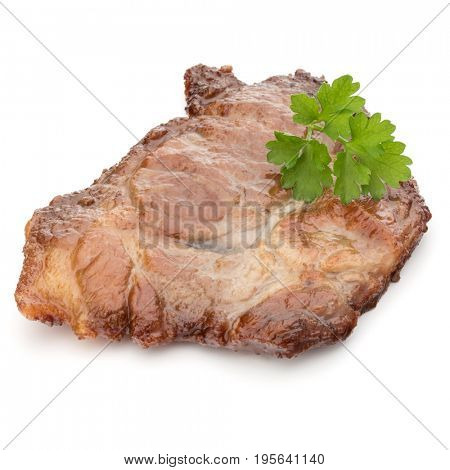 Cooked fried pork meat with parsley herb leaves garnish isolated on white background cutout