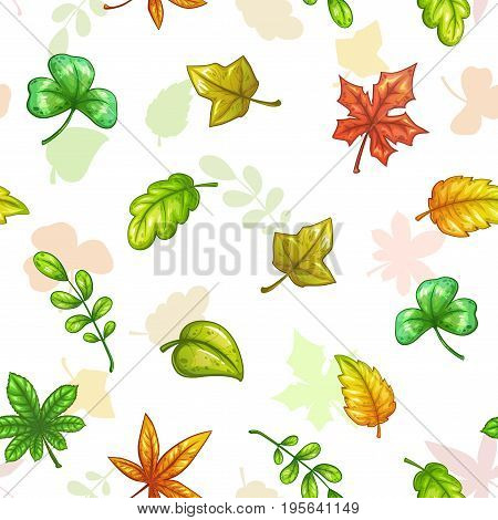 Seamless pattern with falling colorful leaves on white background. Vector autumn herbal texture.